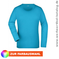 Langarm Shirt aus weichem Elastic-Single-Jersey - Ladies Stretch Shirt Long-Sleeved, als Werbeshirt mit Ihrem Logo!